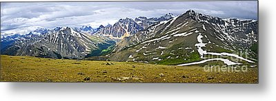 Panorama Of Rocky Mountains In Jasper National Park Metal Print by Elena Elisseeva