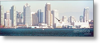Panoramic Image Of San Diego From The Harbor Metal Print by Artist and Photographer Laura Wrede