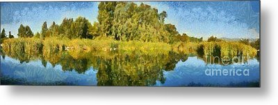 Panoramic Painting Of Ducks Lake Metal Print by George Atsametakis