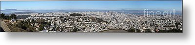 Panoramic View From San Francisco California Twin Peaks 20140223 Metal Print by Wingsdomain Art and Photography
