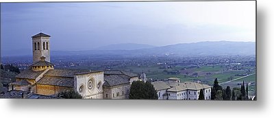 Panoramic View Of Assisi At Night Metal Print by Susan  Schmitz