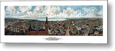 Panoramic View Of Milwaukee Wisconsin Metal Print by War Is Hell Store