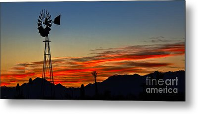 Panoramic Windmill Silhouette Metal Print by Robert Bales