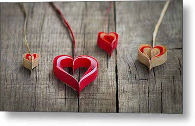 Paper Hearts Metal Print by Aged Pixel