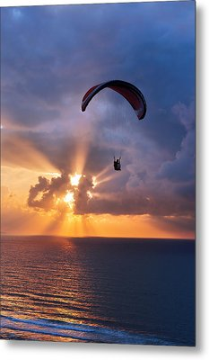 Paragliding At Sunset On Sea With Sun Beams Metal Print by Mikel Martinez de Osaba