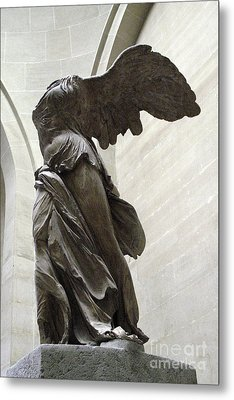 Paris Angel Louvre Museum- Winged Victory Of Samothrace Metal Print by Kathy Fornal