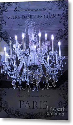 Paris Blue Crystal Chandelier Sparkling Chandelier Art - Paris Blue Shimmering Chandelier Art Deco  Metal Print by Kathy Fornal