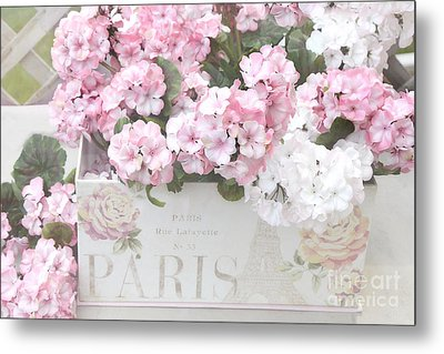 Paris Dreamy Romantic Cottage Chic Shabby Chic Paris Flower Box Metal Print by Kathy Fornal
