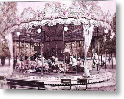 Paris Dreamy Tuileries Park Pink Carousel Merry Go Round - Paris Pink Bokeh Carousel Horses Metal Print by Kathy Fornal