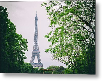 Paris Eiffel Surrounded By Trees Metal Print by Georgia Fowler