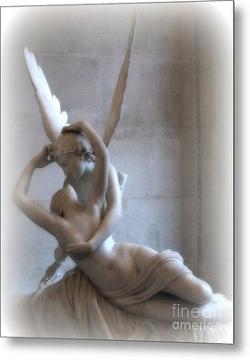 Paris Eros And Psyche Angels Louvre Museum - Paris Angel Art - Paris Romantic Eros And Psyche Art  Metal Print by Kathy Fornal