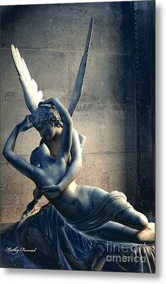 Paris Eros And Psyche Romantic Lovers - Paris In Love Eros And Psyche Louvre Sculpture  Metal Print by Kathy Fornal