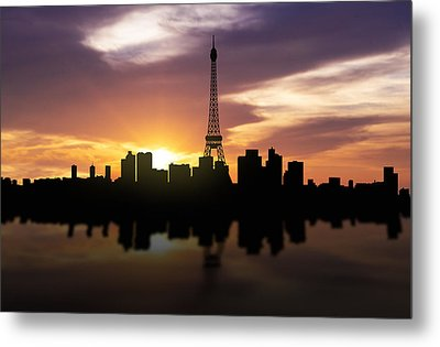 Paris France Sunset Skyline  Metal Print by Aged Pixel