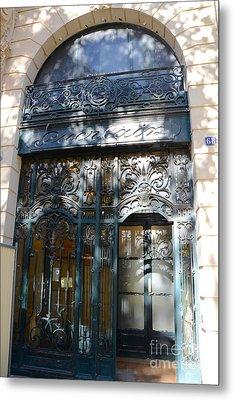 Paris Guerlain Storefront Boutique - Paris Guerlain Blue Door Art Nouveau Art Deco Door Metal Print by Kathy Fornal