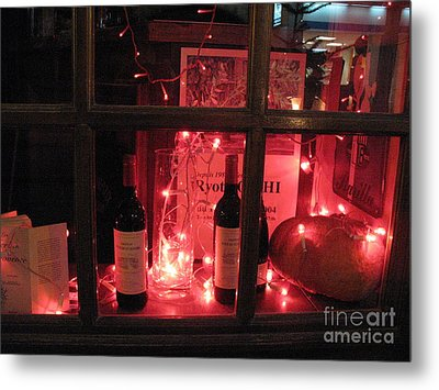Paris Holiday Christmas Wine Window Display - Paris Red Holiday Wine Bottles Window Display  Metal Print by Kathy Fornal