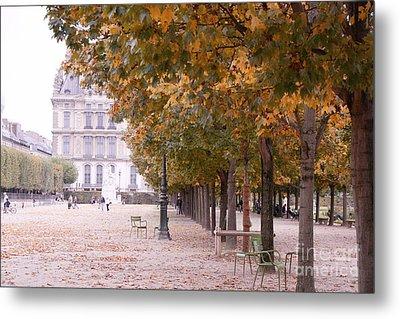 Paris Louvre Jardin Des Tuileries Autumn Fall Trees - Dreamy Tuileries Autumn Trees Nature Gardens Metal Print by Kathy Fornal
