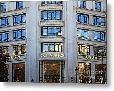 Paris Louis Vuitton Fashion Boutique - Louis Vuitton Designer Storefront In Paris Metal Print by Kathy Fornal