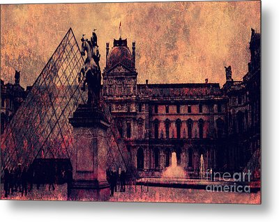 Paris Louvre Museum - Musee Du Louvre - Louvre Pyramid  Metal Print by Kathy Fornal