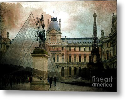Paris Louvre Museum Pyramid Architecture - Eiffel Tower Photo Montage Of Paris Landmarks Metal Print by Kathy Fornal