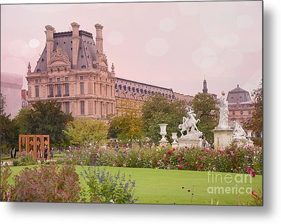 Paris Louvre Palace Tuileries Spring Gardens Floral Romantic Photography Metal Print by Kathy Fornal
