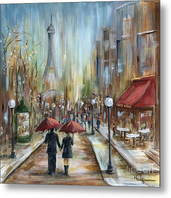 Paris Lovers Ill Metal Print by Marilyn Dunlap