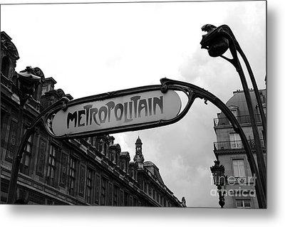 Paris Metro Sign Louvre Museum - Paris Metropolitain Sign Black And White Art Nouveau - Paris Metro Metal Print by Kathy Fornal