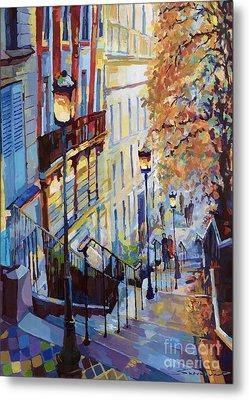 Paris Monmartr Steps Metal Print by Yuriy  Shevchuk