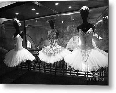 Paris Opera Garnier Ballerina Costume Tutu - Paris Black And White Ballerina Photography Metal Print by Kathy Fornal
