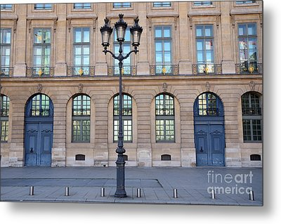 Paris Place Vendome Street Architecture Blue Doors And Street Lamps  Metal Print by Kathy Fornal