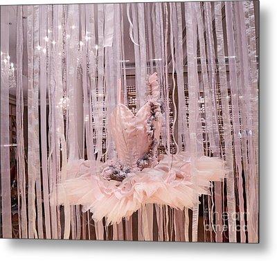 Paris Repetto Pink Ballerina Tutu Dress Shop Window Display - Repetto Ballerina Pink Ballet Tutu Metal Print by Kathy Fornal