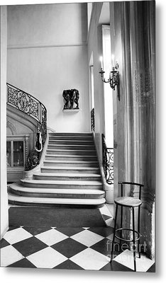Paris Rodin Museum Black And White Fine Art Architecture - Rodin Museum Entry Staircase Metal Print by Kathy Fornal