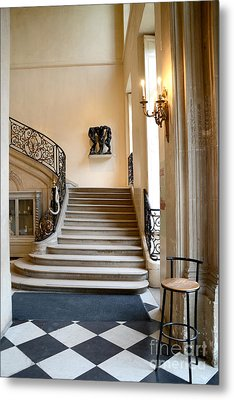 Paris Rodin Museum Entry Staircase And Architecture Metal Print by Kathy Fornal