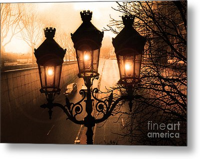 Paris Sepia Street Lanterns Lamps - Paris Sepia Autumn Fall Sparkling Sunset Night Lanterns  Metal Print by Kathy Fornal