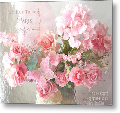 Paris Shabby Chic Dreamy Pink Peach Impressionistic Romantic Cottage Chic Paris Flower Photography Metal Print by Kathy Fornal