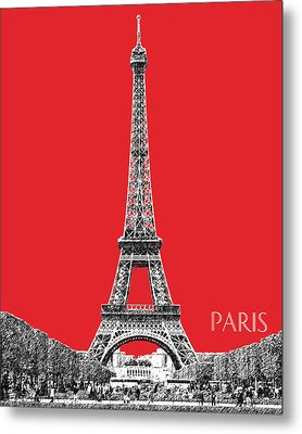 Paris Skyline Eiffel Tower - Red Metal Print by DB Artist