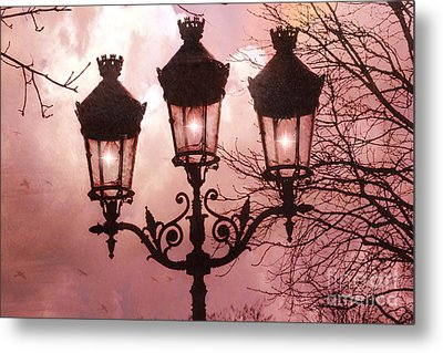 Paris Street Lanterns - Paris Romantic Dreamy Surreal Pink Paris Street Lamps  Metal Print by Kathy Fornal