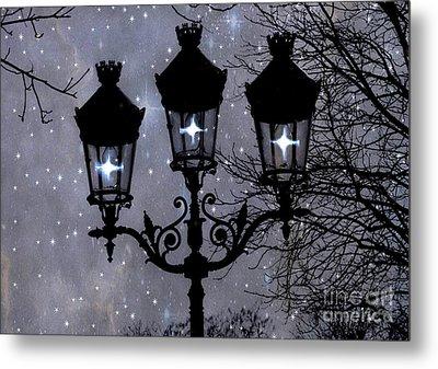 Paris Street Lights Lanterns - Paris Starry Night Dreamy Surreal Starlit Night Street Lamps Of Paris Metal Print by Kathy Fornal