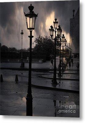 Paris Surreal Louvre Museum Street Lanterns Lamps - Paris Gothic Street Lamps Black Clouds Metal Print by Kathy Fornal