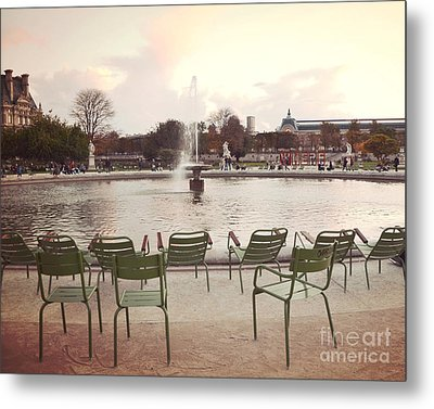 Paris Tuileries Garden Park Fountain Green Chairs - Paris Autumn Fall Tuileries - Autumn In Paris Metal Print by Kathy Fornal