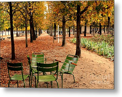Paris Tuileries Gardens And Trees - Jardin Des Tuileries Gardens Parks Autumn - Paris Fall Autumn Metal Print by Kathy Fornal
