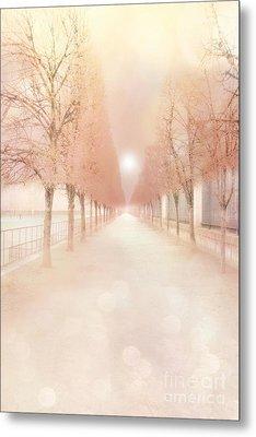Paris Tuileries Row Of Trees - Paris Jardin Des Tuileries Dreamy Park Landscape  Metal Print by Kathy Fornal