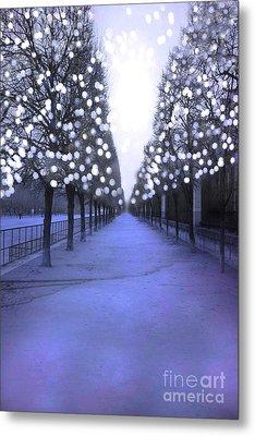 Paris Tuileries Row Of Trees - Purple Lavender Sparkling Twinkling Lights - Paris Sparkling Lights  Metal Print by Kathy Fornal