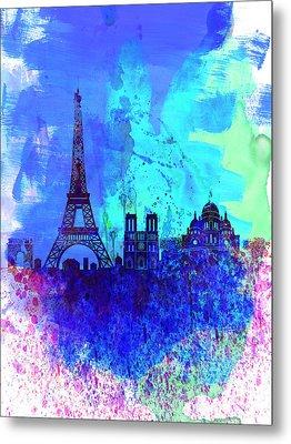Paris Watercolor Skyline Metal Print by Naxart Studio