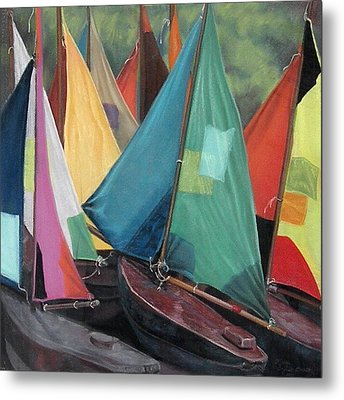 Parisian Sailboats Metal Print by Kathleen English-Barrett