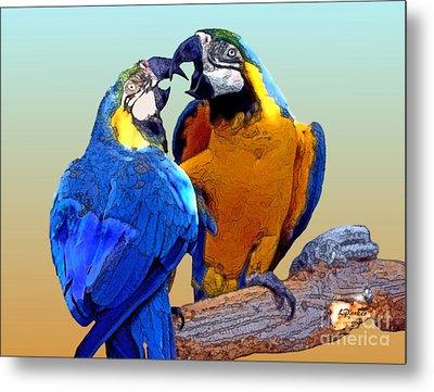Parrot Passion 2 Metal Print by Linda  Parker