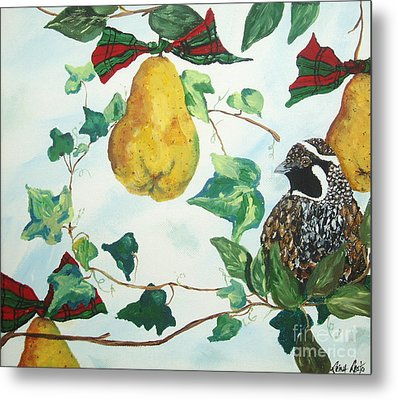 Partridge And  Pears  Metal Print by Reina Resto