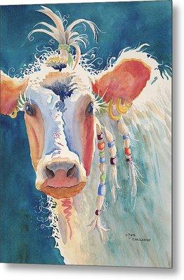 Party Gal - Cow Metal Print by Deb  Harclerode