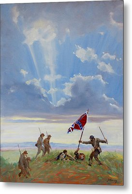 Passing On The Blood Stained Banner Metal Print by Sandra Harris