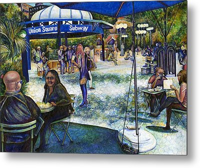 Passionate People Playing In The Park Metal Print by Gaye Elise Beda