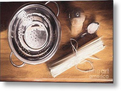 Pasta Preparation. Vintage Photo Sketch Metal Print by Jorgo Photography - Wall Art Gallery